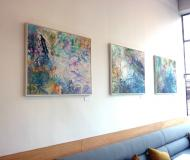 paintings installed at Kensington Place Restaurant by the Rowley Gallery 2013